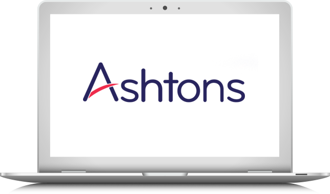 ashtons logo on laptop