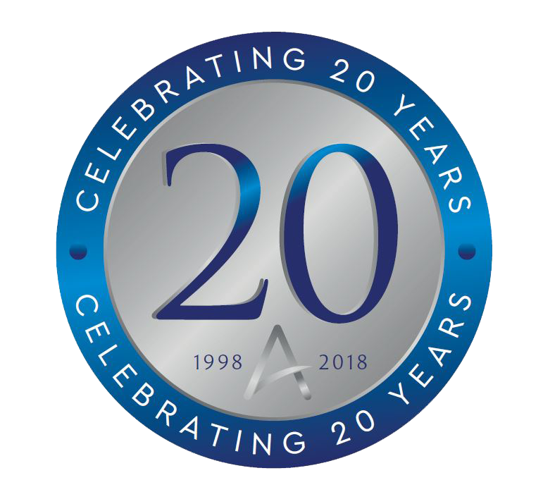 Ashtons Estate Agents 20 years in service symbol
